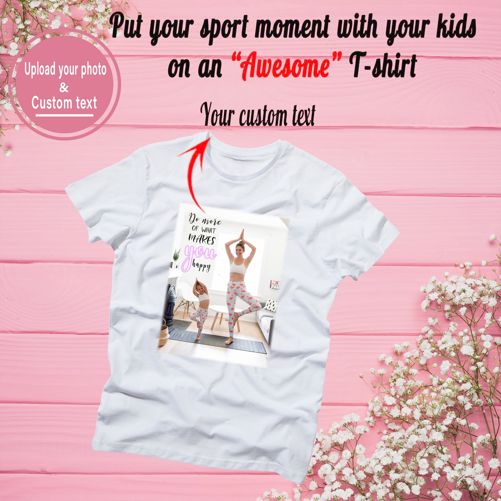 PERSONALIZED UNISEX T- SHIRT - UPLOAD YOUR SPORT MOMENT WITH YOUR KIDS ON YOUR T- SHIRT
