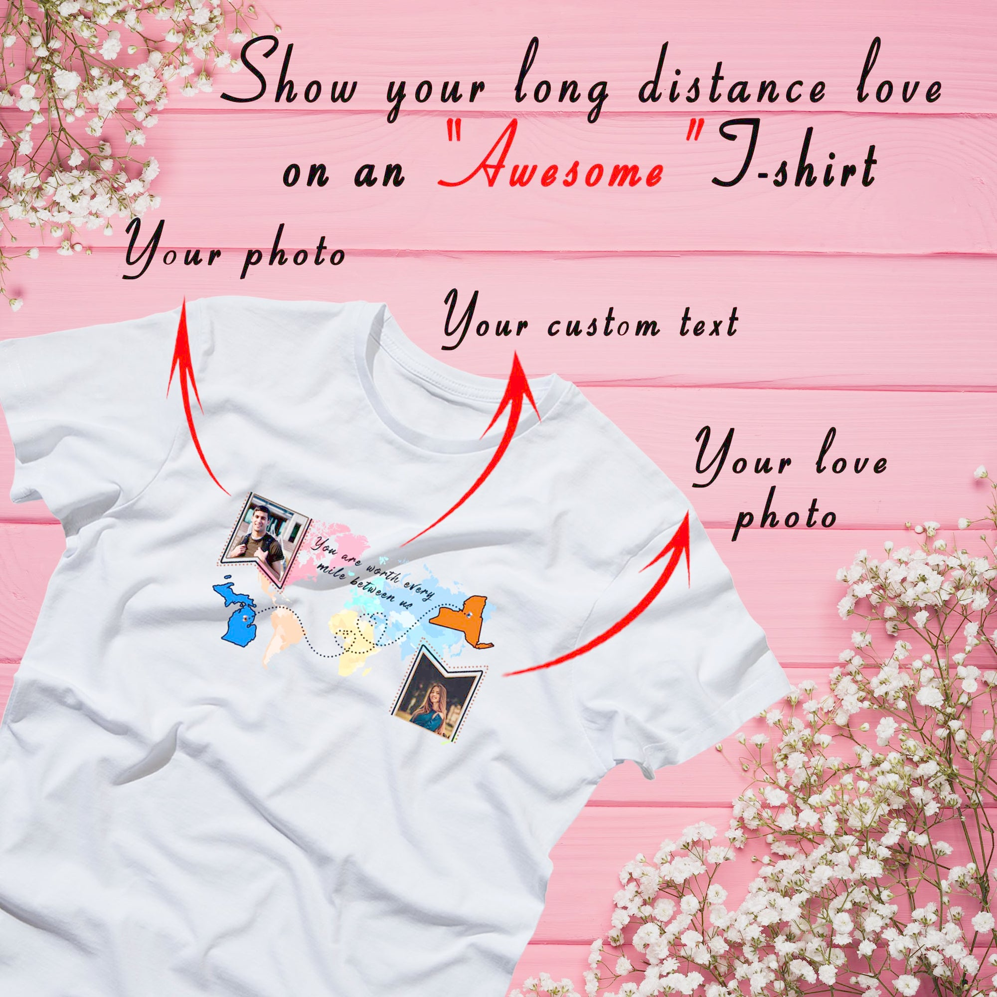 PERSONALIZED UNISEX T- SHIRT - UPLOAD YOUR AND YOUR LOVER PHOTOS ON YOUR T- SHIRT