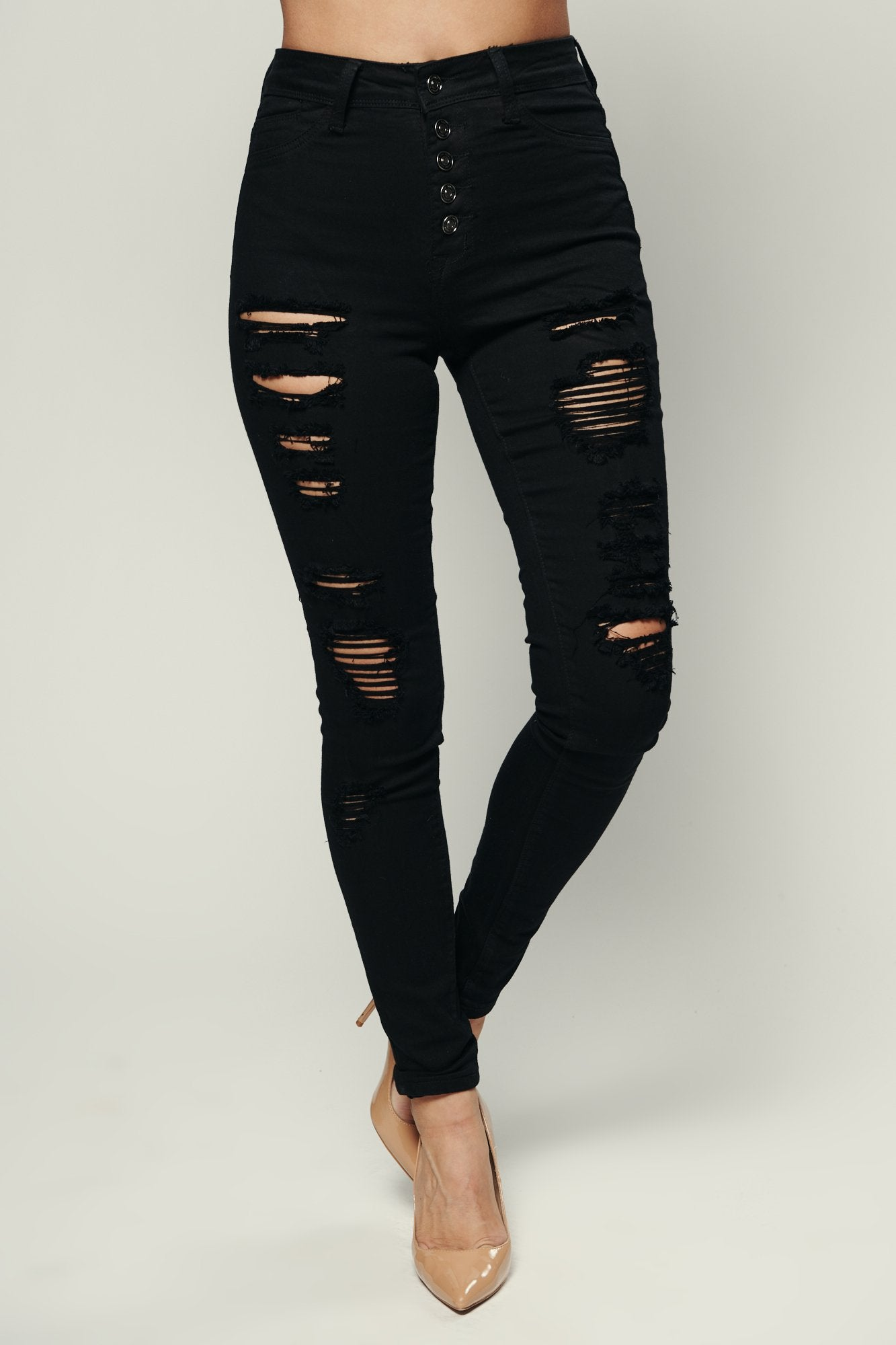 Over You Distressed Five Button Denim (Black)