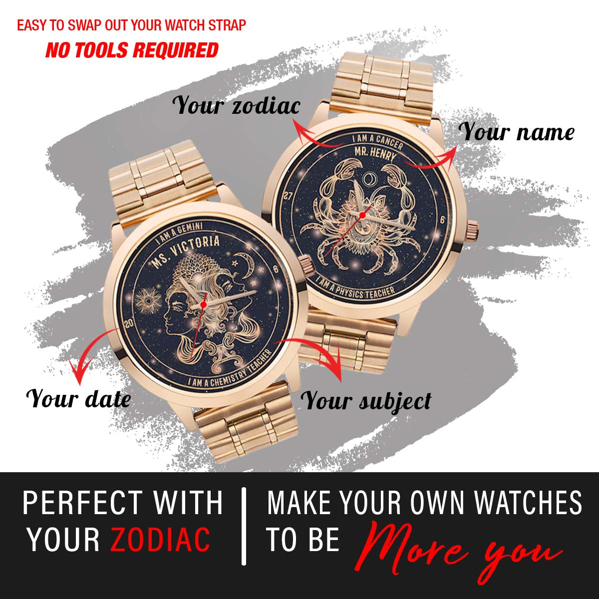 PERSONALIZED WATCH - put your zodiac & your name on your watch