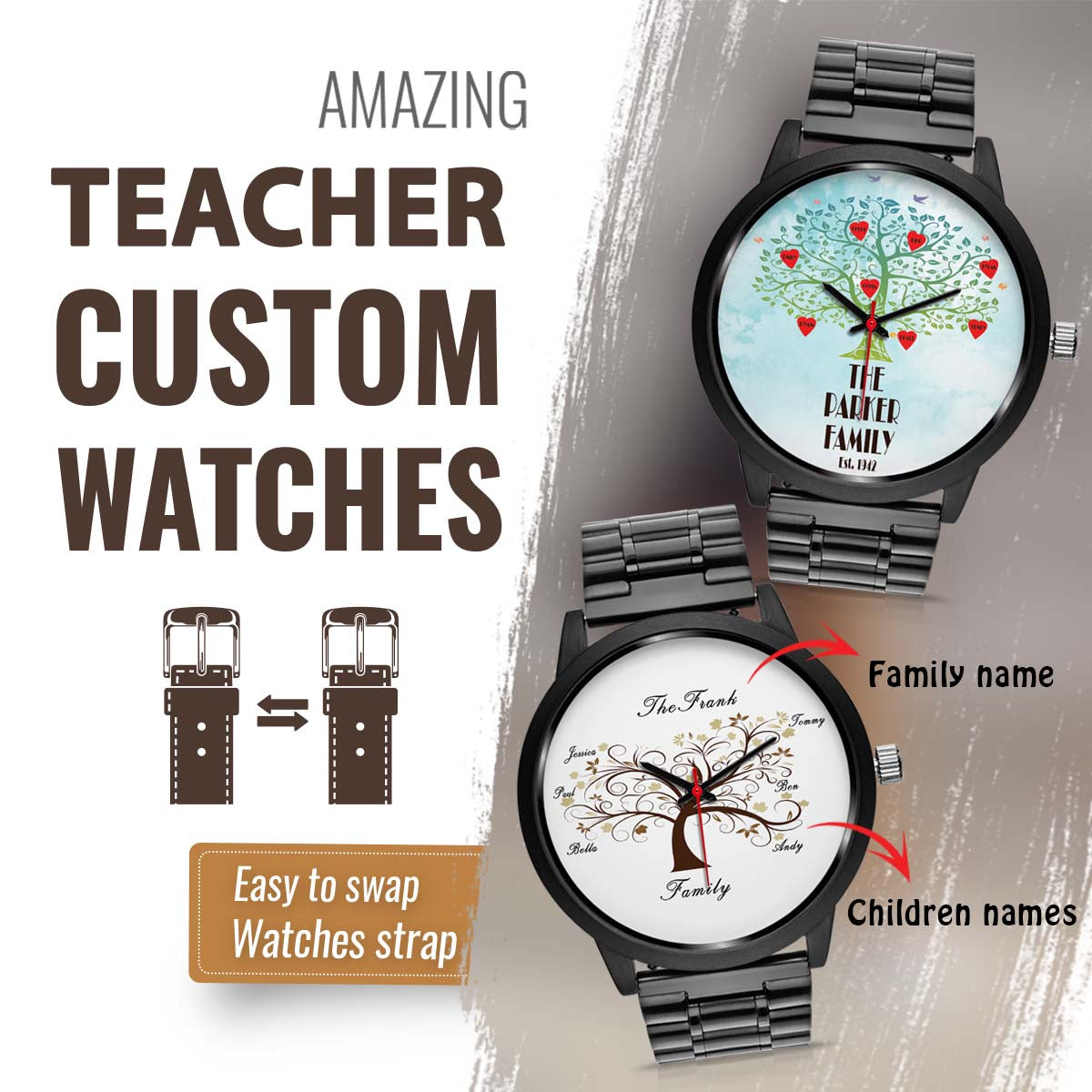 PERSONALIZED WATCH - PUT YOUR OWN FAMILY TREE ON YOUR WATCH