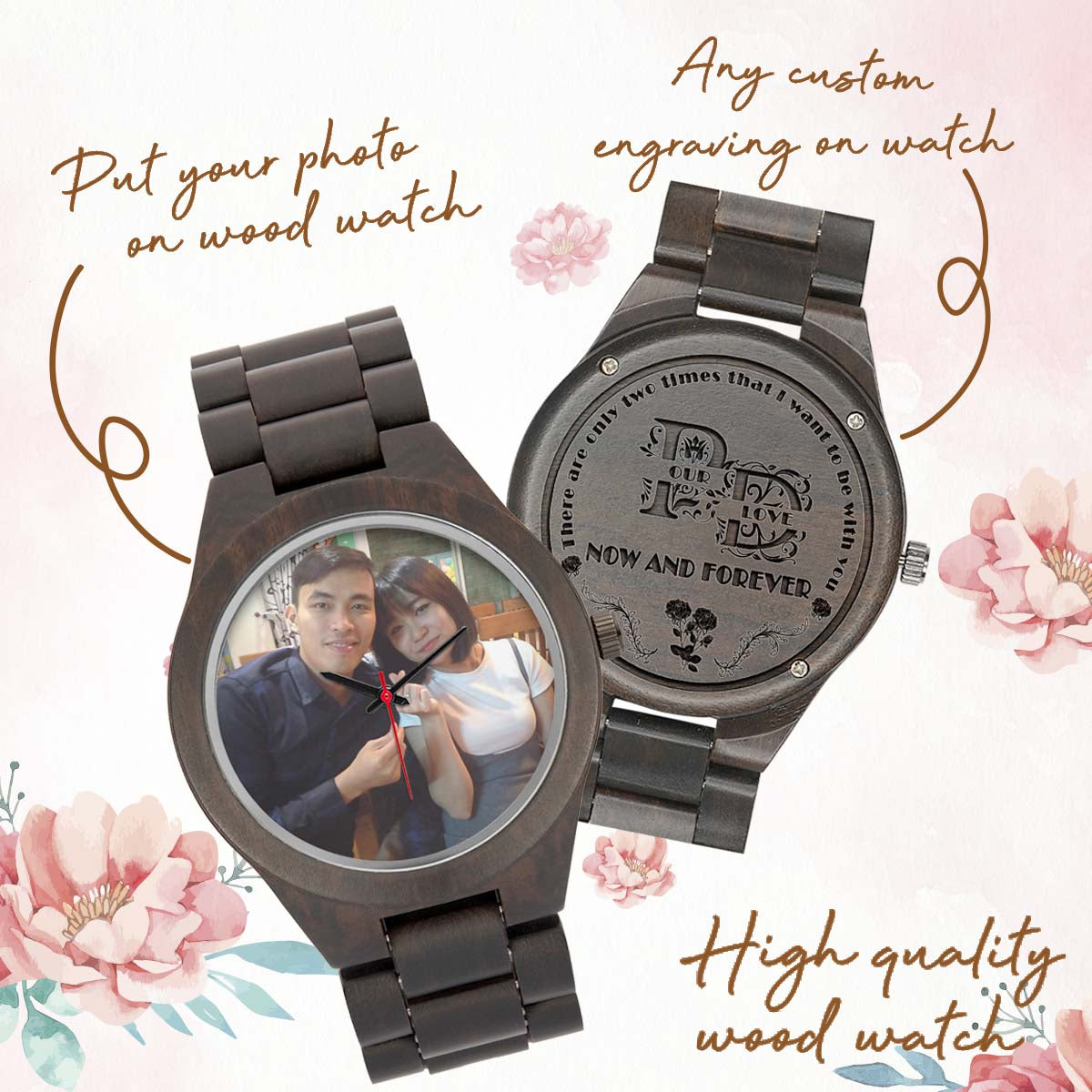 PERSONALIZED WOOD WATCH - UPLOAD YOUR PHOTO & ADD YOUR CUSTOM TEXT