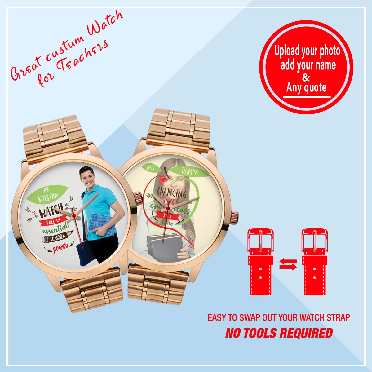 PERSONALIZED WATCH - CUSTOMIZE YOUR WATCH WITH YOUR PHOTO & YOUR QUOTE