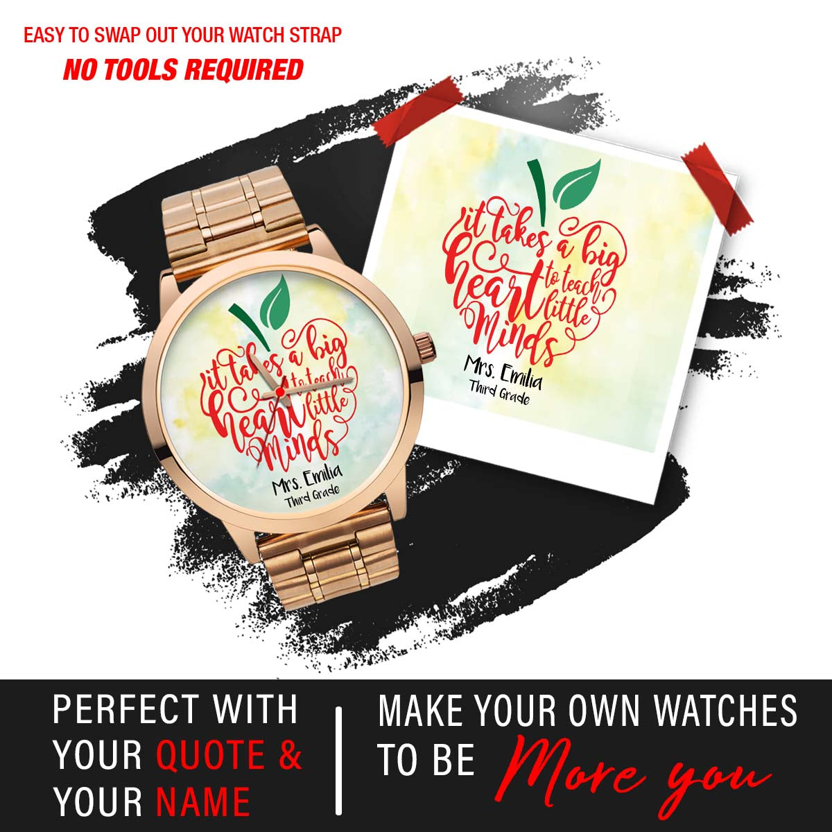 PERSONALIZED WATCH - ADD YOUR FAVORITE QUOTE & YOUR NAME