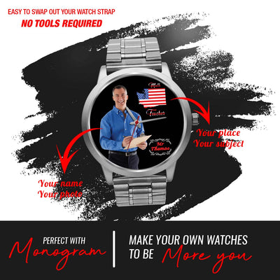 PERSONALIZED WATCH - CUSTOM YOUR WATCH WITH YOUR PHOTO & YOUR PLACE (FULL MAP OPTION)