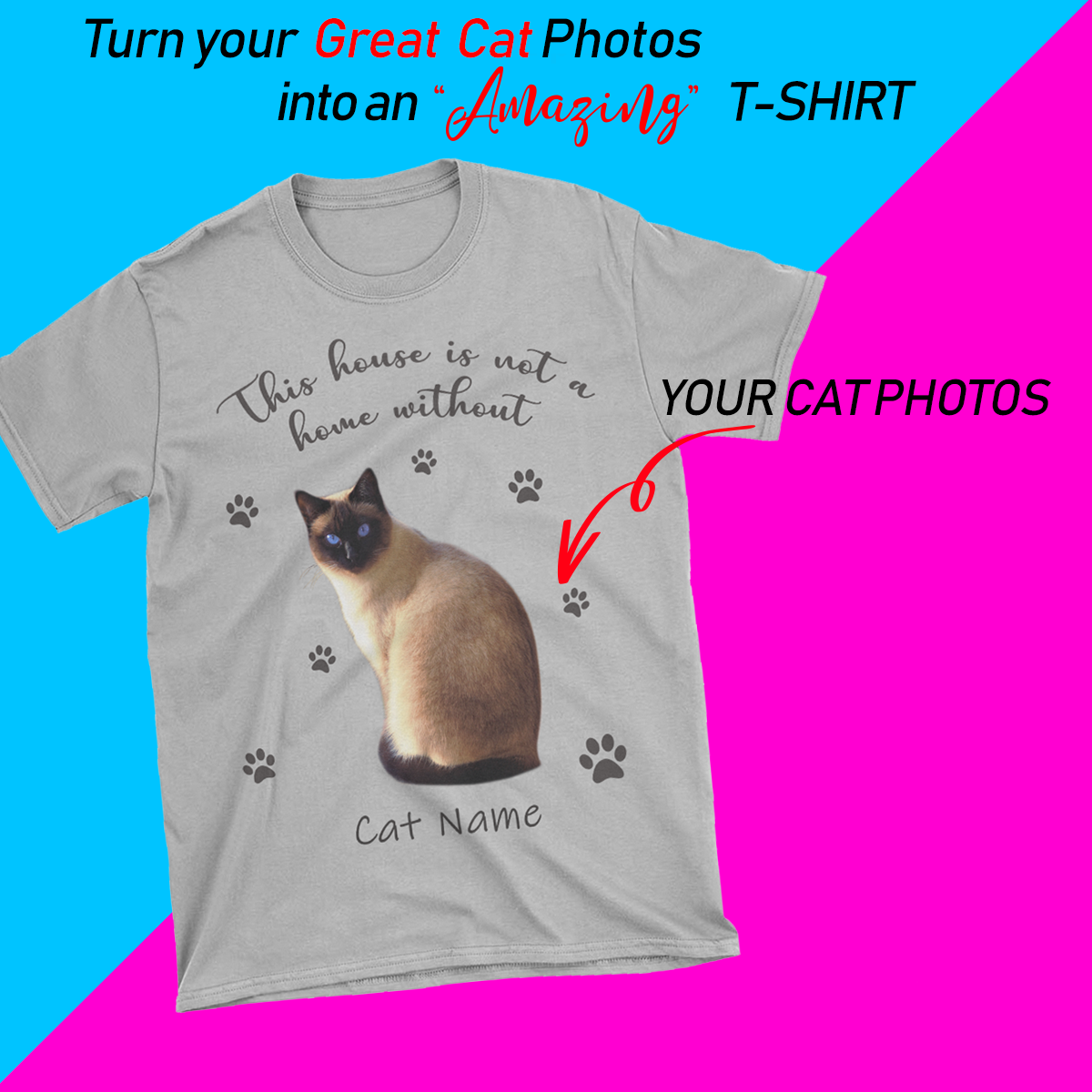 PERSONALIZED T-SHIRT - UPLOAD YOUR BELOVED CAT PHOTOS AND NAMES MD22
