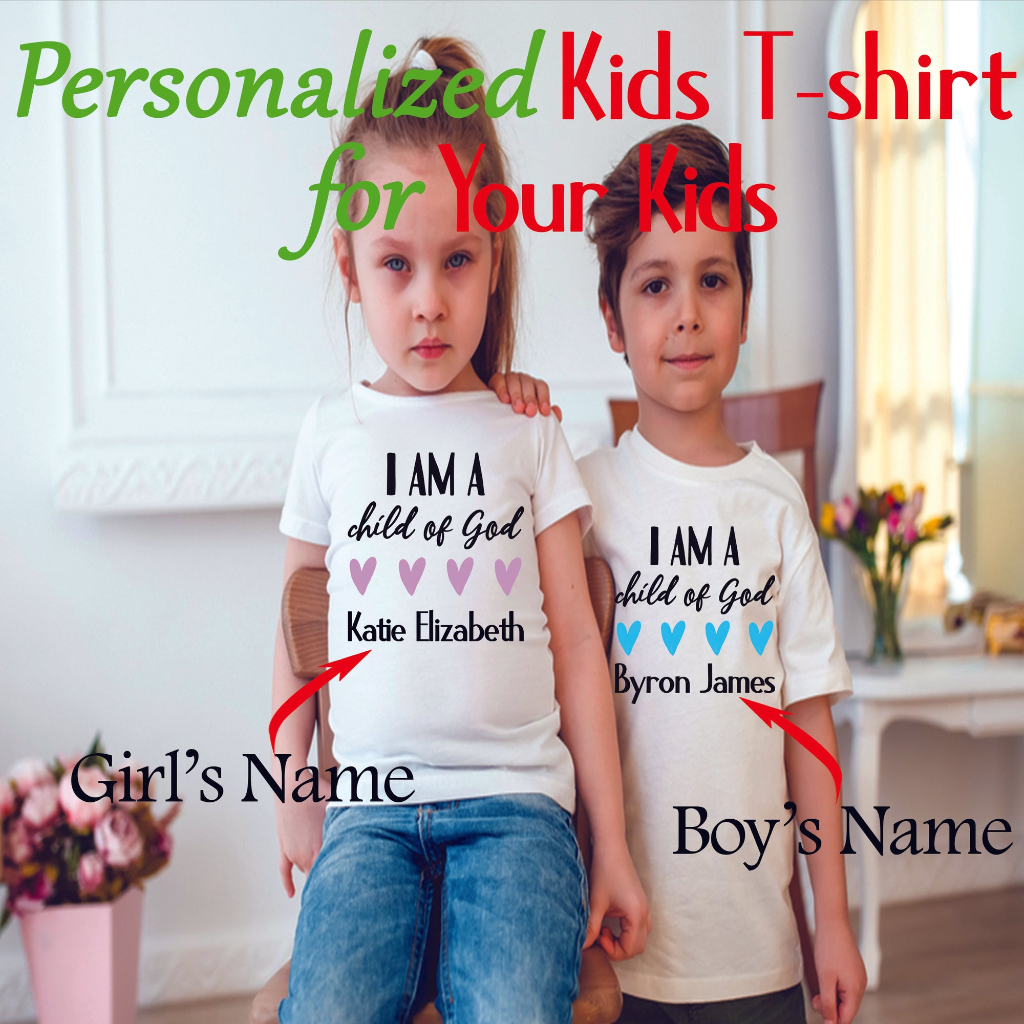 PERSONALIZED KIDS T-SHIRT - UPLOAD YOUR KID'S NAME