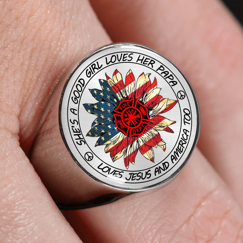 Vira awesome Stainless Steel Signet Ring for firefighter papa