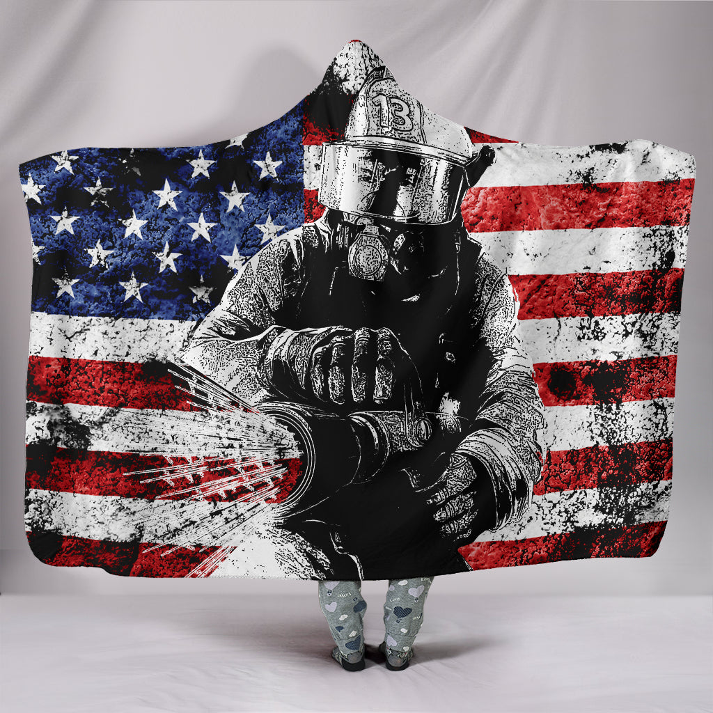 Firefighter Hooded Blanket