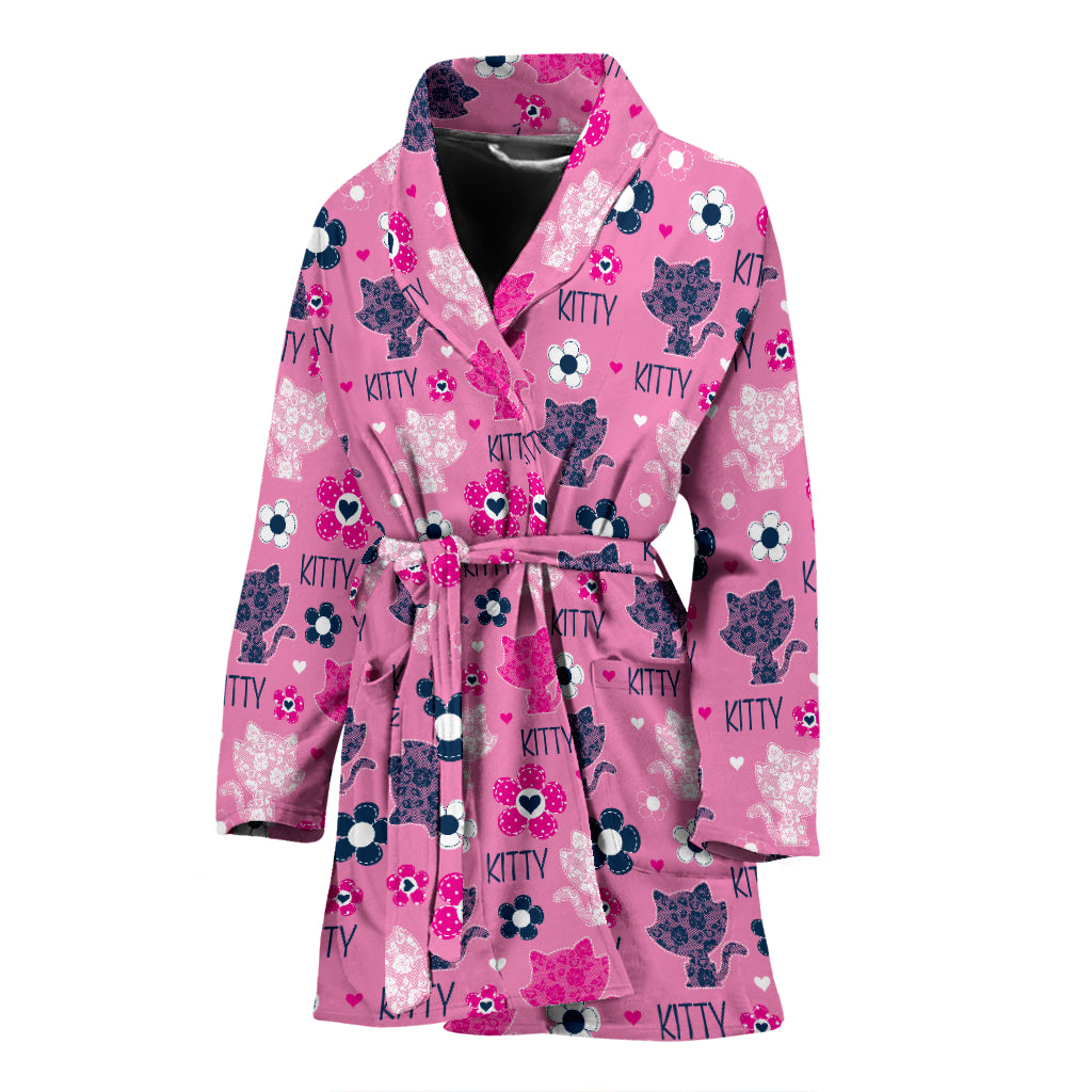 Pink Cat Women's Bath Robe