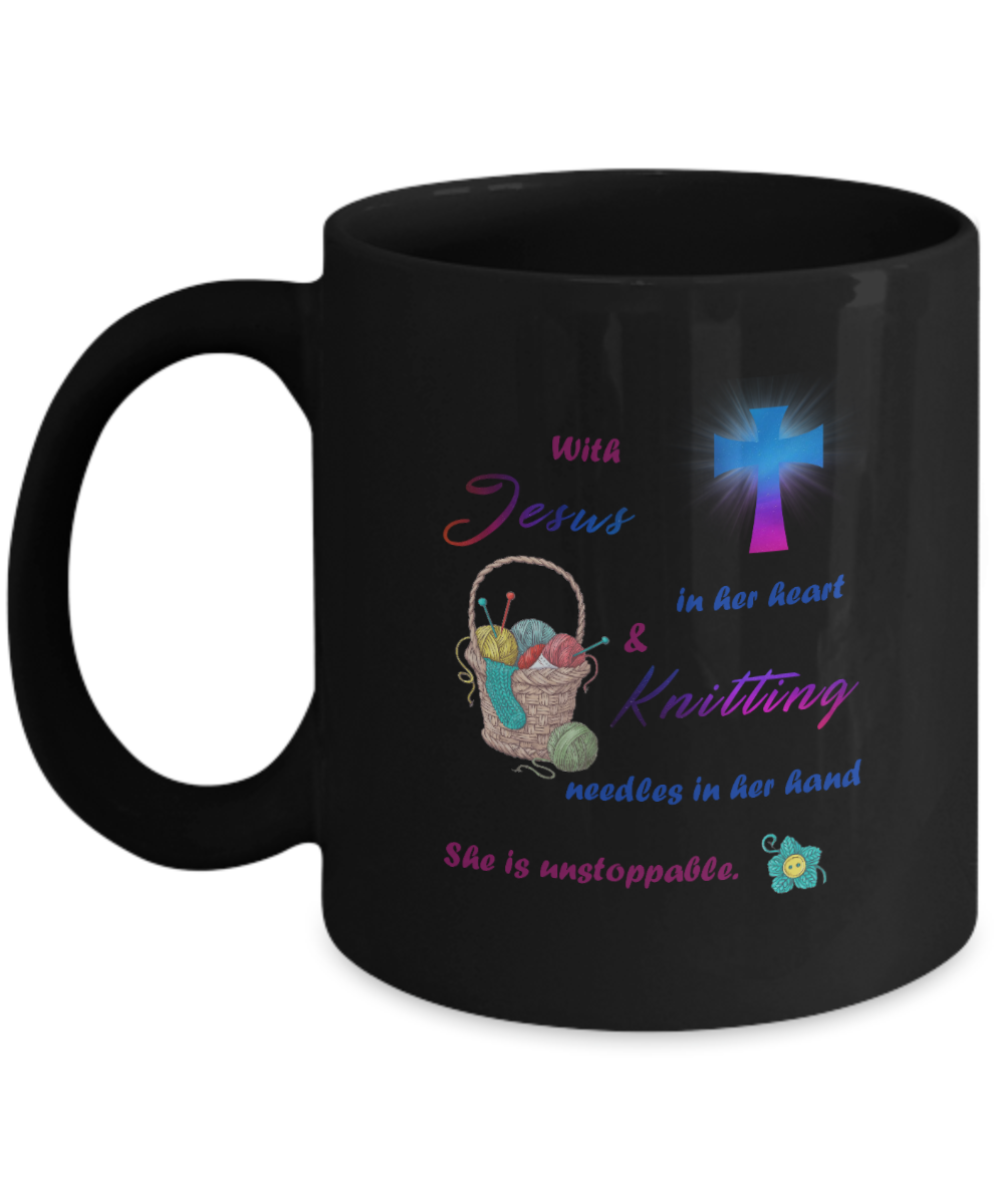 VIRA Awesome Mug For Jesus Lovers & Love Knitting