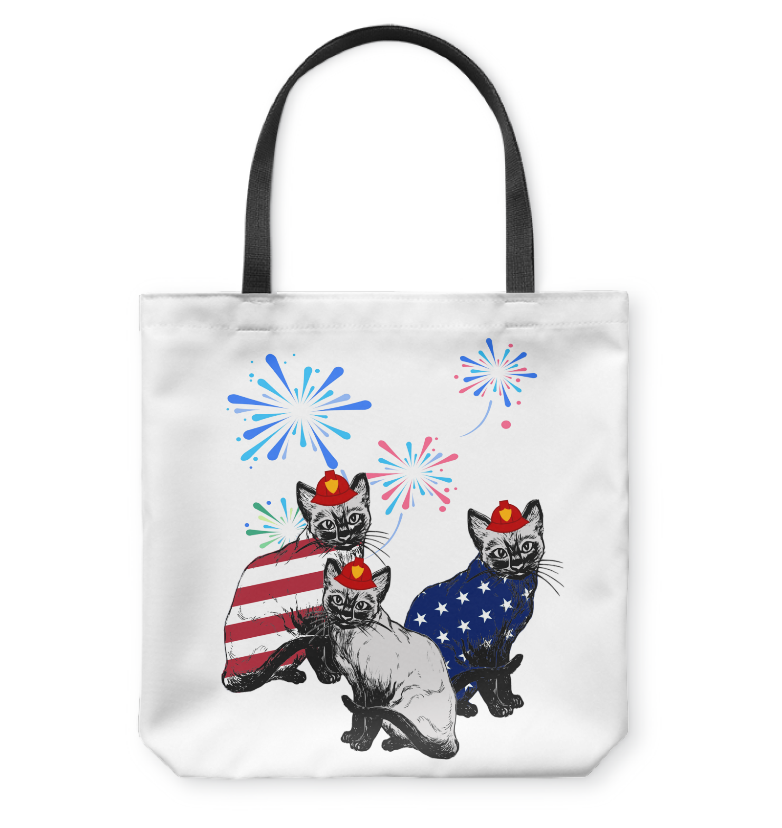 VIRA TOTE BAG FOR WHO LOVES CAT AND FIREFIGHTER