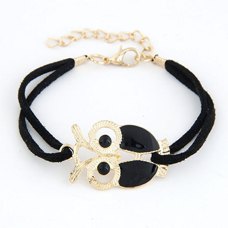 Cute Owl Leather Bracelets Bangle For Women
