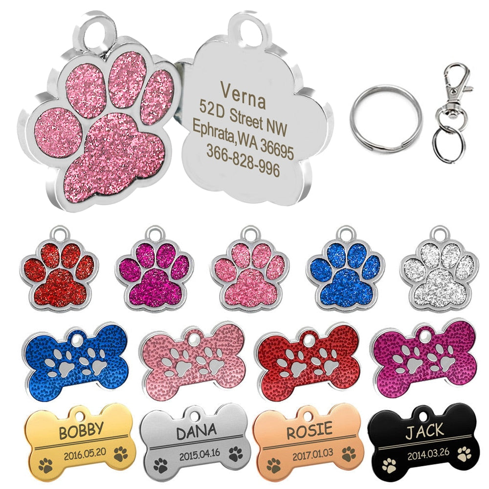 Personalized  Engraved Dog Tags Pet ID Name Collar Pet Accessories Bone/Paw Glitter for Cat Puppy