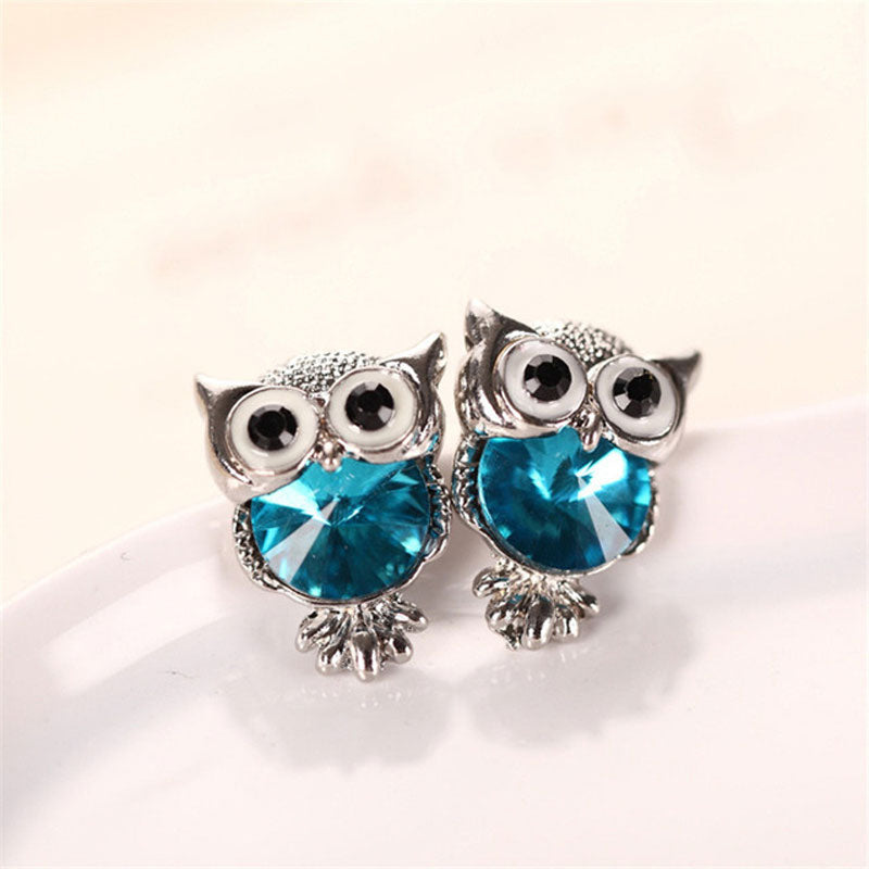 Cute Crystal Owl Earrings For Women