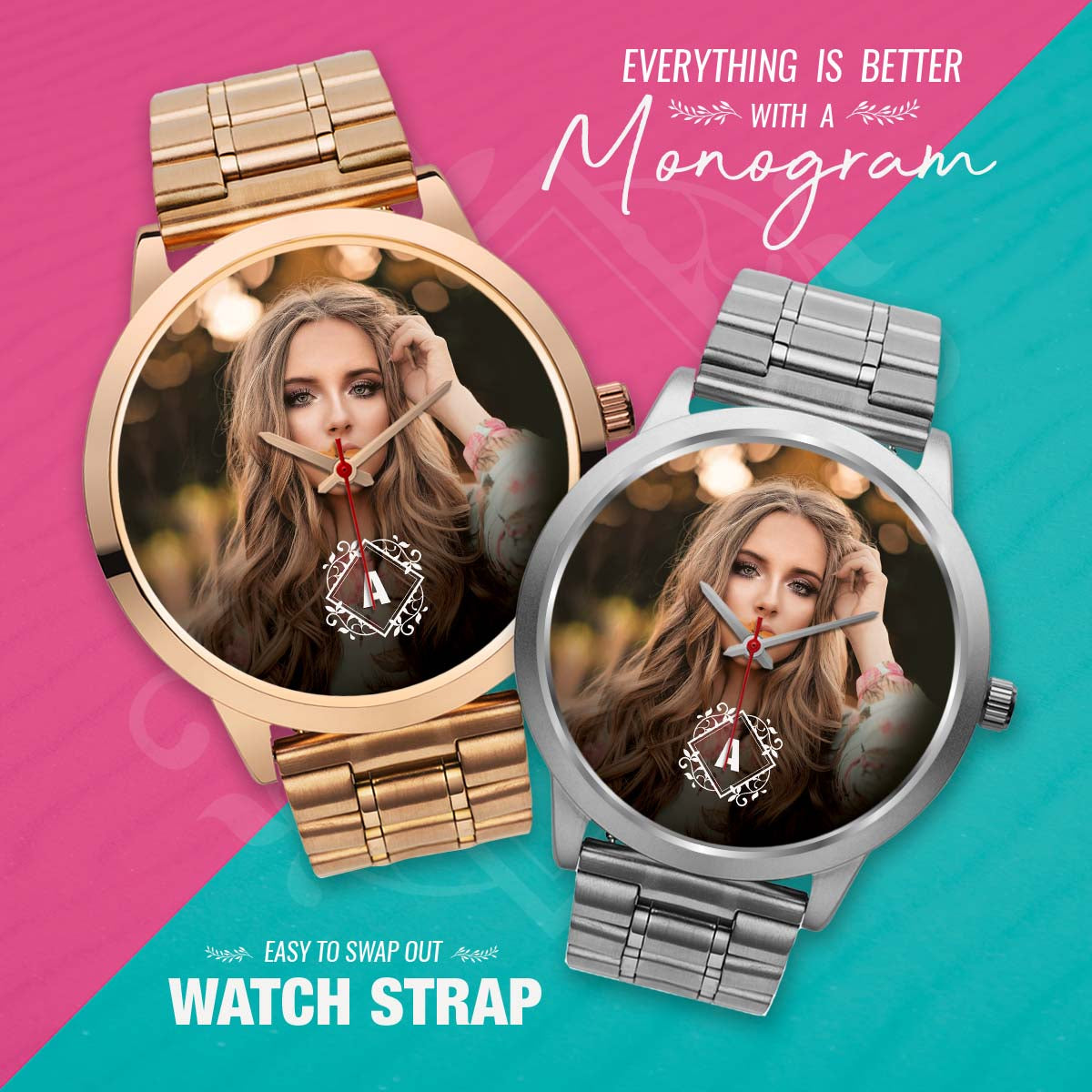 PERSONALIZED watch - your photo watch with MONOGRAM