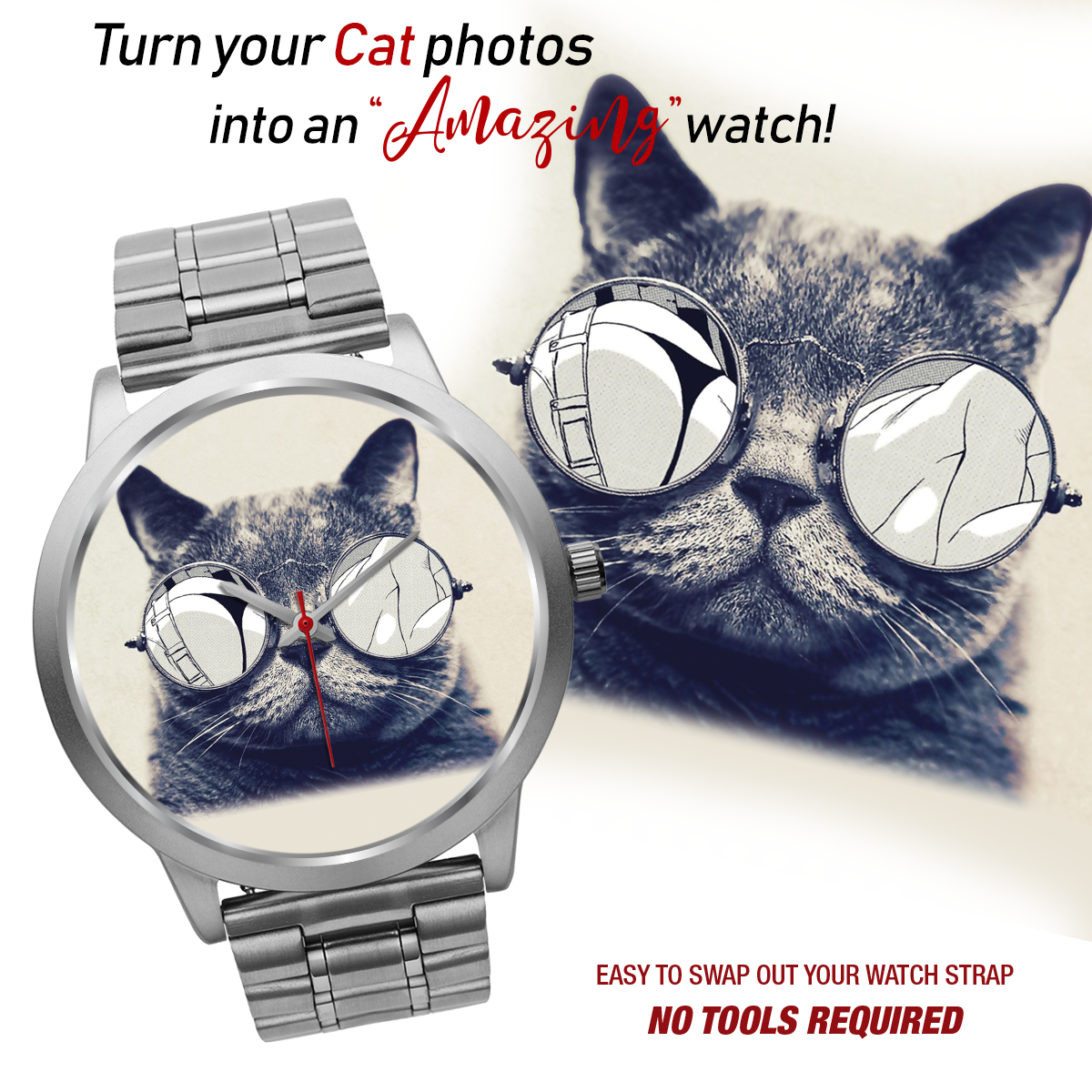 PERSONALIZED WATCH - UPLOAD YOUR BELOVED CAT PHOTOS