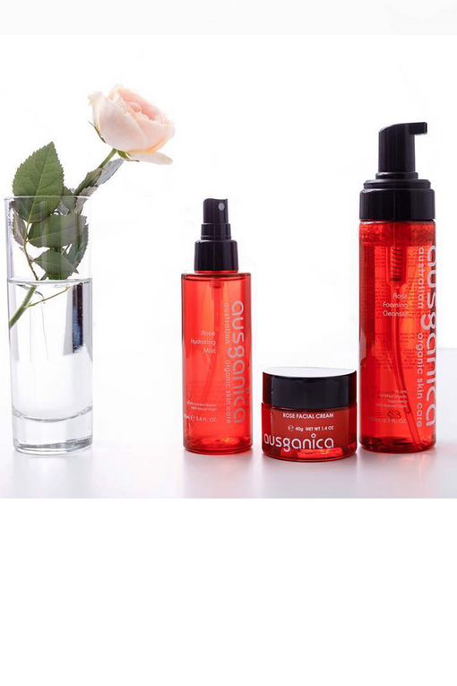 Rose Facial Cream Organic Face Moisturizer with Rose Cleansing Oil and Rose Emulsion