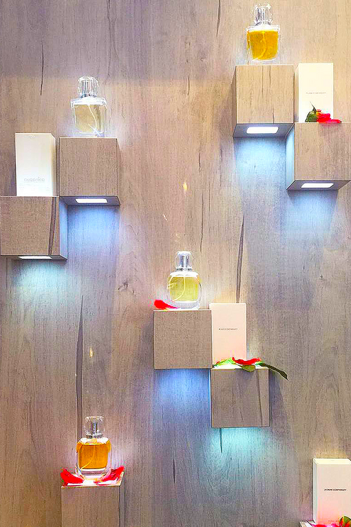 scentherapy is organic luxury fragrance displayed in all scents on wall