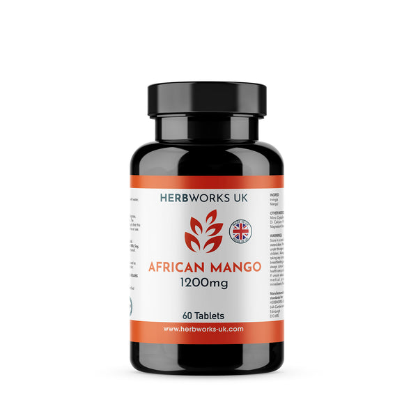 African Mango 1200mg Supplements label centre - Halal Vegetarian Vegan Vitamins Supplements by HerbWorks UK