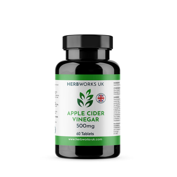 Apple Cider Vinegar 500mg label centre - Halal Vegetarian Vegan Vitamins Supplements by HerbWorks UK