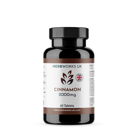Cinnamon 2000mg label centre - Halal Vegetarian Vegan Vitamins Supplements by HerbWorks UK