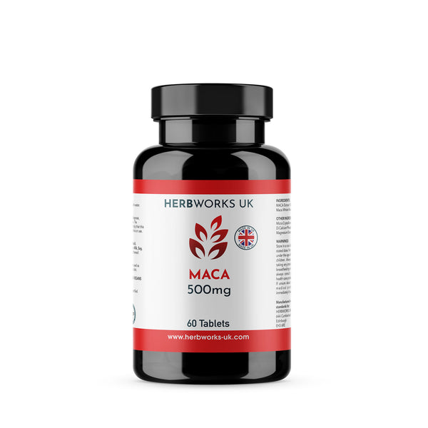 Maca 500mg label centre - Halal Vegetarian Vegan Vitamins Supplements by HerbWorks UK