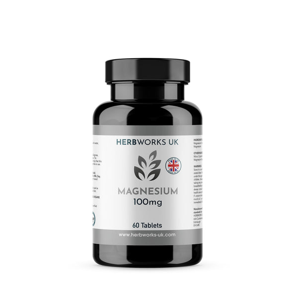 Magnesium 100mg label centre - Halal Vegetarian Vegan Vitamins Supplements by HerbWorks UK