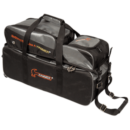 Hammer Charcoal Premium Triple Tote With Pouch, 3 Ball Bowling Bags
