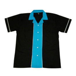 Black Blue Retro Bowling Shirt - Slight Seconds, Bowling Shirt