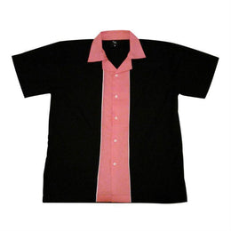 Bowling Shirt - Black Pink Retro Bowling Shirt