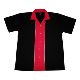 Black Red Stripe Bowling Shirt, Bowling Shirt