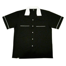 Black Retro Bowling Shirt, Bowling Shirt