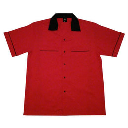 Bowling Shirt - Red Black Bowling Shirt