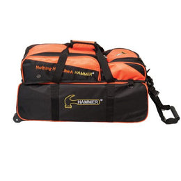 Hammer Orange Premium Triple Tote With Pouch, 3 Ball Bowling Bags