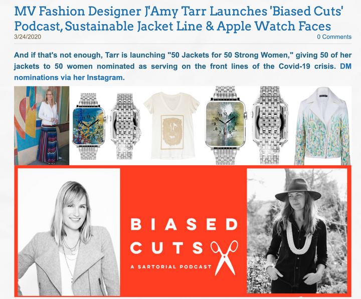 Enjoy Mill Valley - MV Fashion Designer J'Amy Tarr Launches 'Biased Cuts' Podcast, Sustainable Jacket Line & Apple Watch Faces