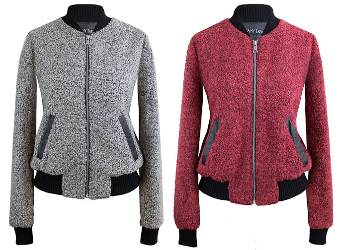 Crimson Concrete Knit Bomber Jacket