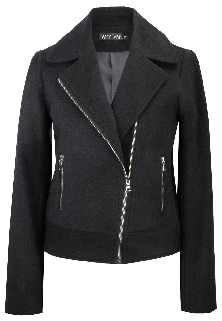 Black Biker Jacket - Soft Japanese Wool