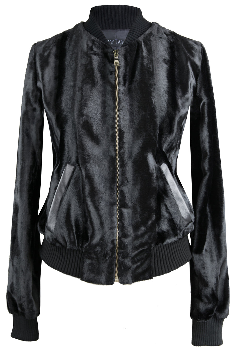 Fur Bomber Jacket - Onyx NEW Gold Zip