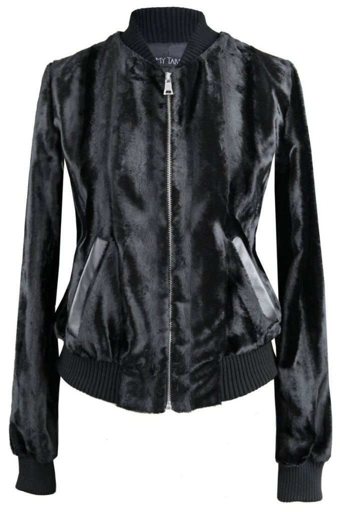 Fur Bomber Jacket - Onyx