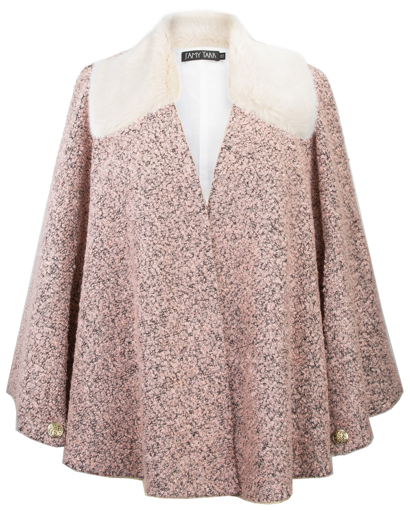 Blush Boucle Capelet with Faux Fur Collar