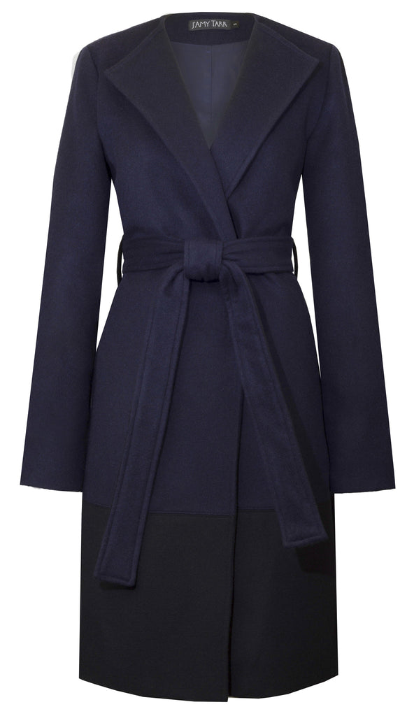 The Blanket Coat in Navy & Black Colorblock