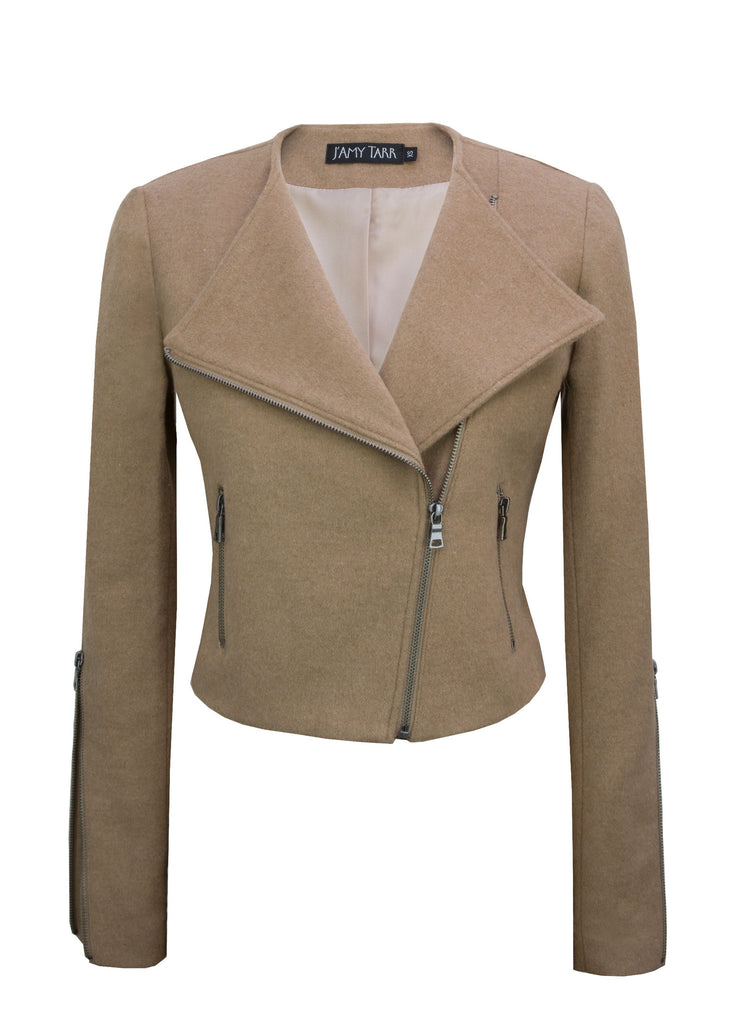 Camel Japanese Wool Moto Jacket