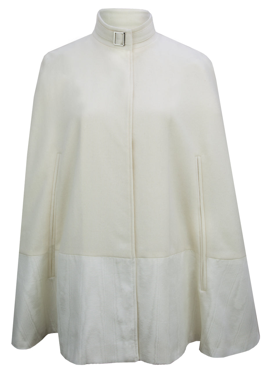 The Wool & Moire Cape in Cream
