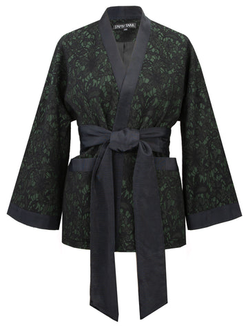 Short Kimono with Belt in Dark Emerald