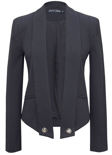 Draped Blazer - Black Collar
