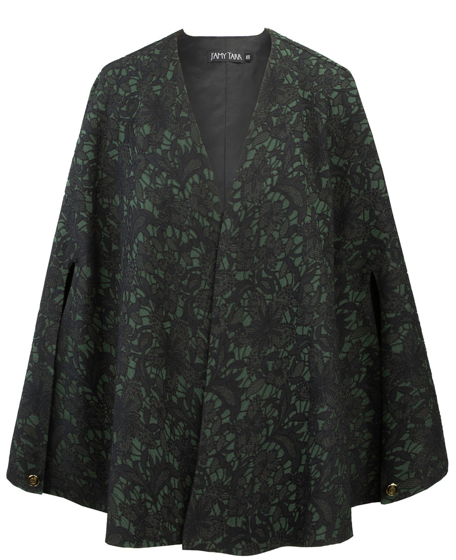 Emerald Jacquard Capelet - One Size