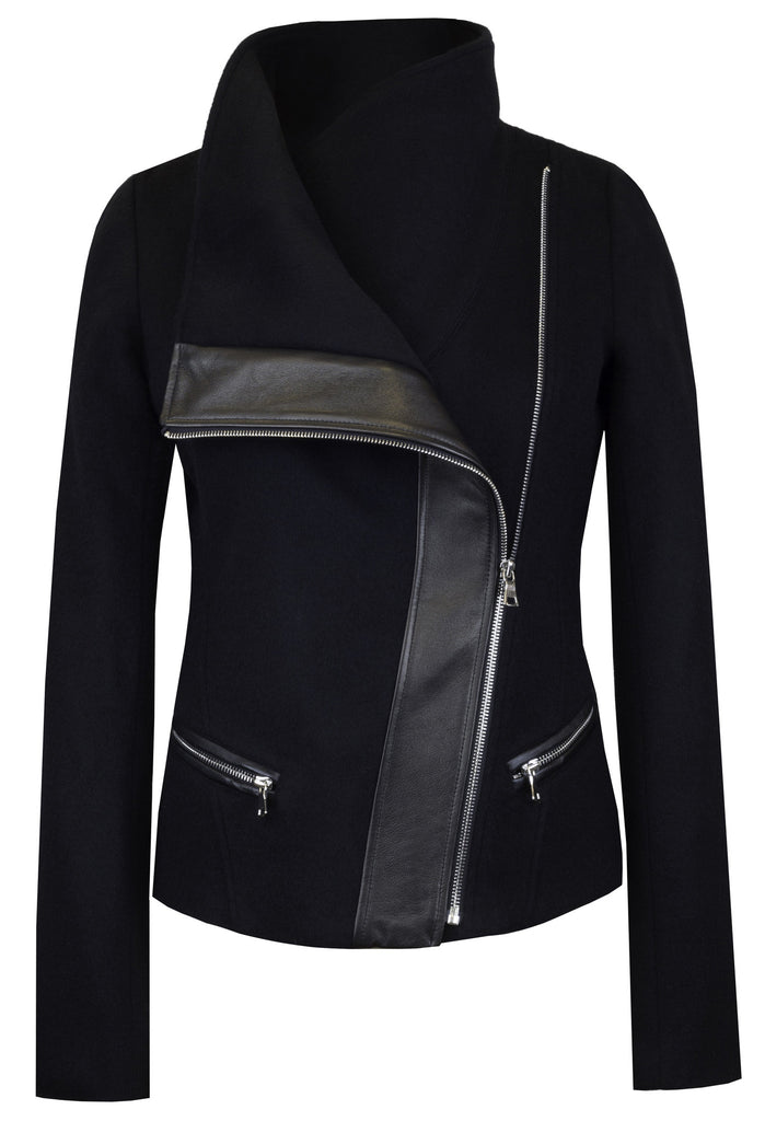The Funnel-Neck Jacket in Jet Black