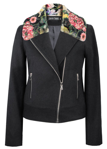 Black Biker Jacket with Floral Faux Fur Collar - Soft Japanese Wool