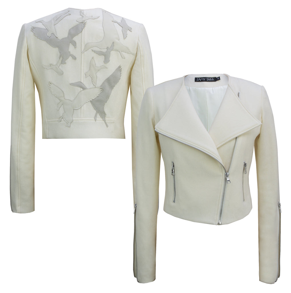 Limited Edition 'Take Flight' Cream Moto Jacket
